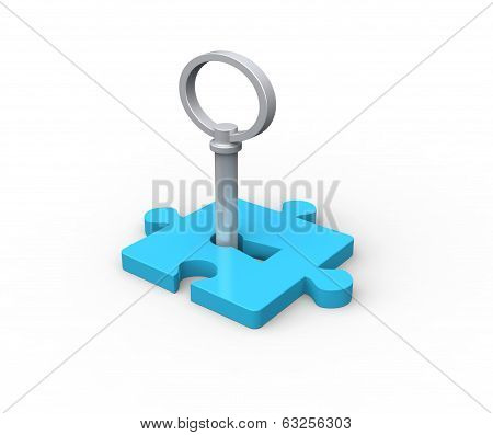 Jjigsaw puzzle piece with key - this is a 3d render illustration