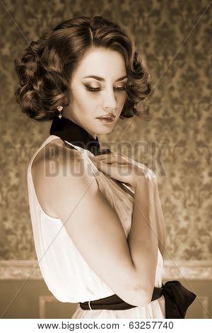 Sensual Woman Sepia Tone Vintage Image