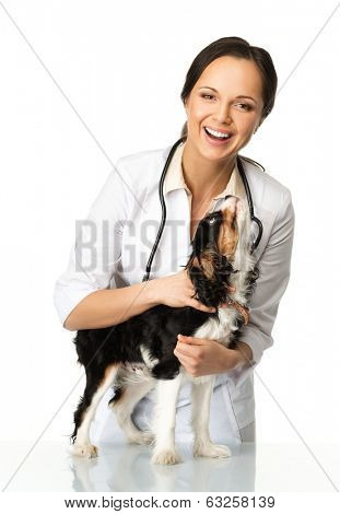 Young positive brunette veterinary woman with spaniel
