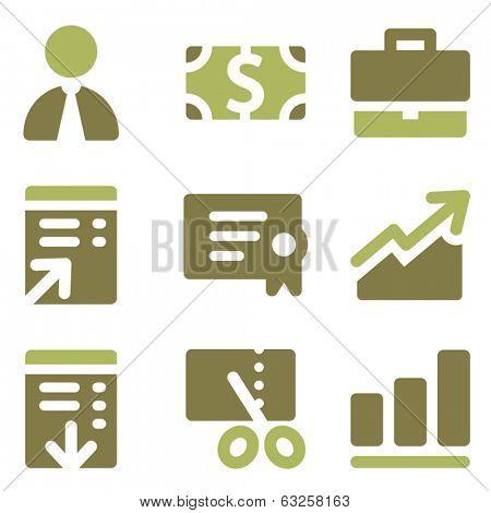 Finance web icons, olive mix set