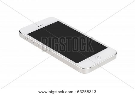 White Modern Smartphone With Blank Screen Lies On The Surface