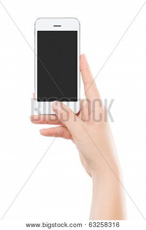 Directly Front View Of A Modern White Mobile Smart Phone In Female Hand