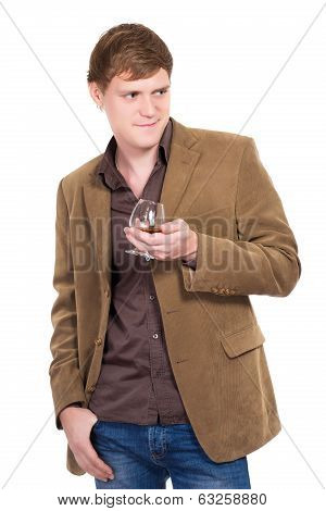 Handsome Man Posing With A Glass Of Whiskey