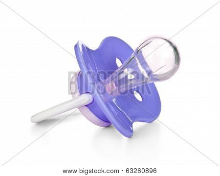 Blue baby silicone pacifier. Isolated on white