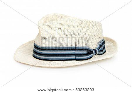 Summer panama straw hat isolated on white