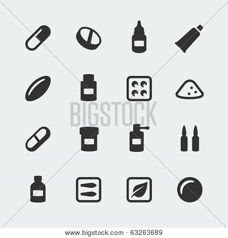 Vector Medications Mini Icons Set