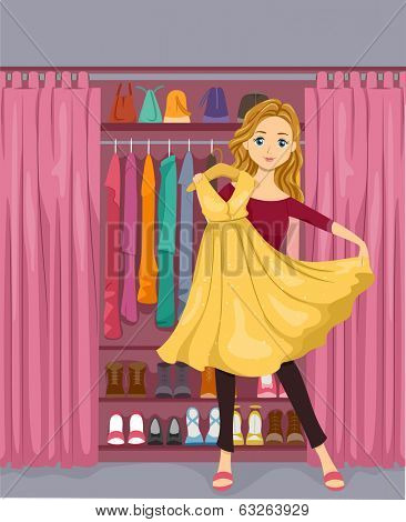 Illustration of a Girl Standing in Front of a Closet Holding a Yellow Dress