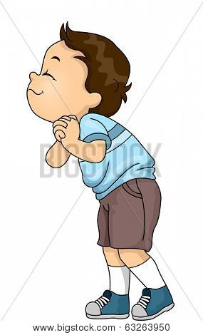 Illustration of a Little Boy Excitedly Sniffing Something