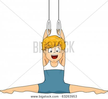 Illustration of a Little Boy Doing a Split While Holding on to Still Rings