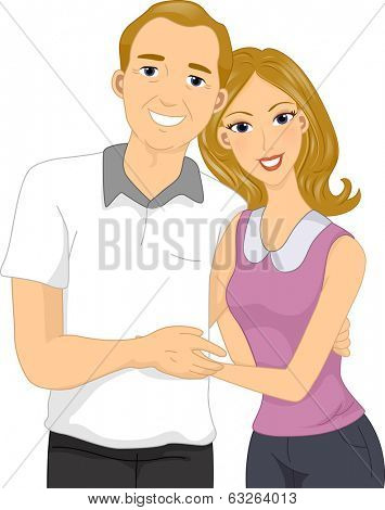 Illustration of a Woman Hugging Her Middle-aged Dad
