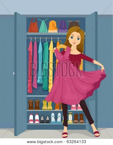 Illustration of a Girl Standing in Front of a Closet Holding a Pink Glittery Dress