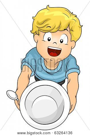 Illustration of a Little Boy Handing Over an Empty Bowl Asking for Seconds