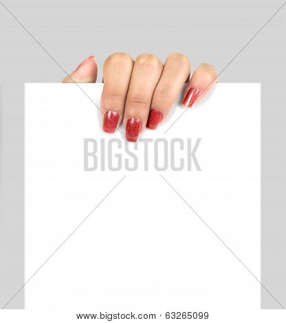 Hand holding paper isolated on white background