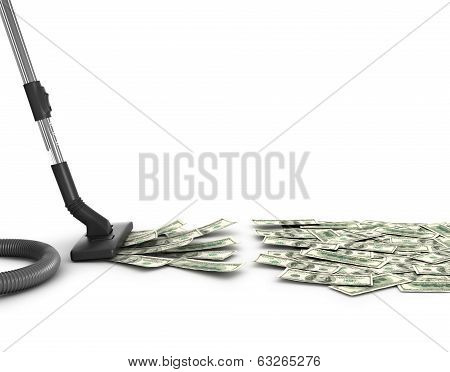 Concept with vacuum cleaner sucking money, 3d