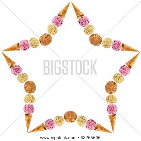 Abstract frame shape star of colored ice cream scoops with waffle cone isolated on white background