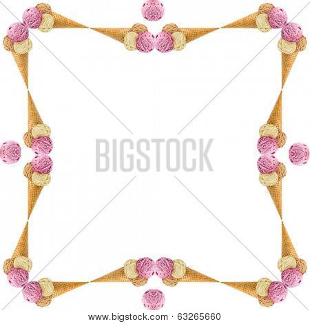 Abstract frame of colored ice cream scoops in waffle cone with copy space for text isolated on white background