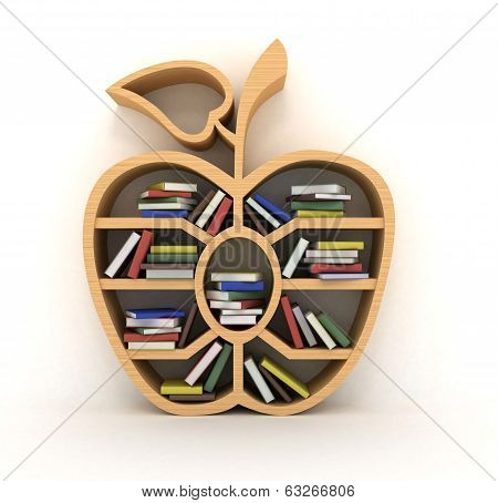 book shelf in form of apple, 3d