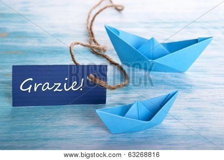 Label With Grazie And Boats