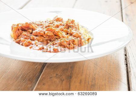 Ready Meal Of Pasta Tomato Pork Sauce