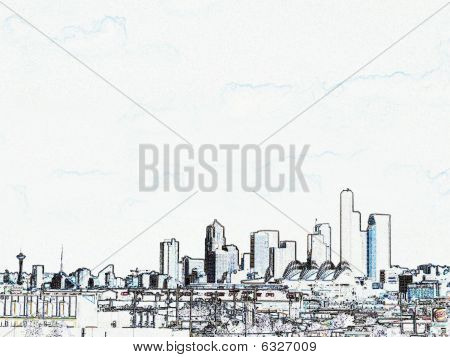 Architectual Conceptual View Of Seattle Skyline From The South