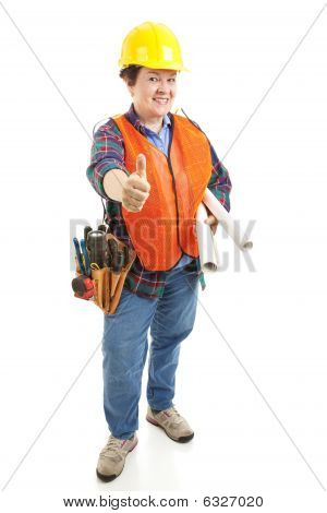Female Contractor Thumbsup