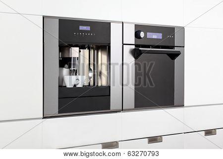 Espresso machine and steam oven built in.