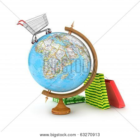 Globe with shopping cart and shopping bags, isolated on white background