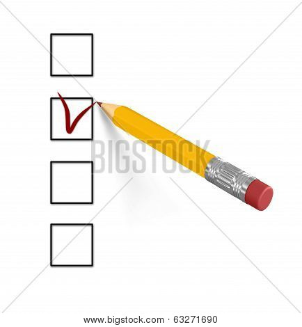 Pencil and questionnaire on white isolated background. 3d