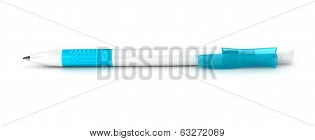 white with blue ball-point pen isolated on white