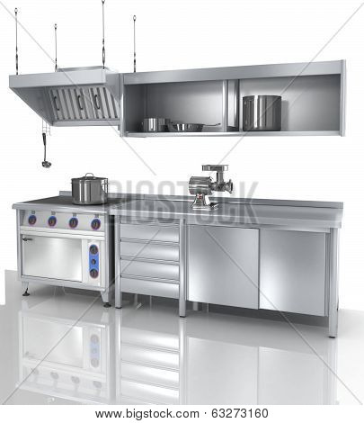 proffesional kitchen furniture and tools, 3d