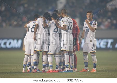 CARSON, CA - APRIL 12: Los Angeles Galaxy starting 11 during the MLS game between the Los Angeles Galaxy & the Vancouver Whitecaps on April 12th 2014 at the StubHub Center.