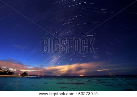 Starry night on tropical resort, beautiful natural background, many little stars in dark blue sky, gorgeous landscape, summertime nature