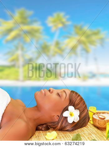 Beautiful African woman sleeping on massage table on the beach, enjoying day spa, luxury summer vacation, pleasure and relaxation concept