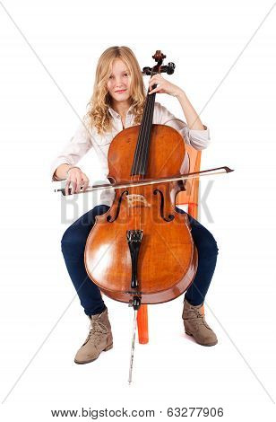 blonde girl playing the double bass