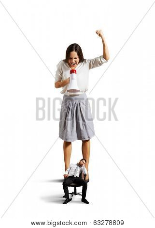 angry woman screaming at small lazy man over white background