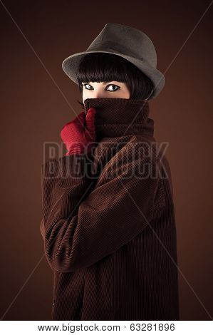 woman detective disguised face