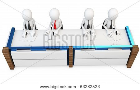 3D Man At Contest Jury Table