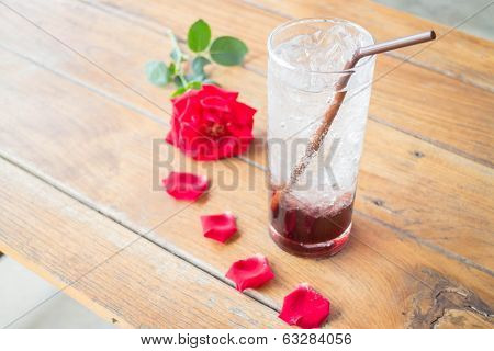 Serving Pomegranate Drink On Wood Table