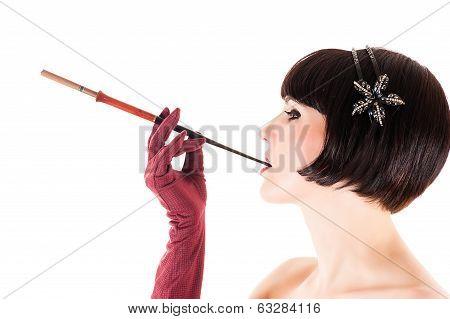 Beauty Retro Woman with Mouthpiece