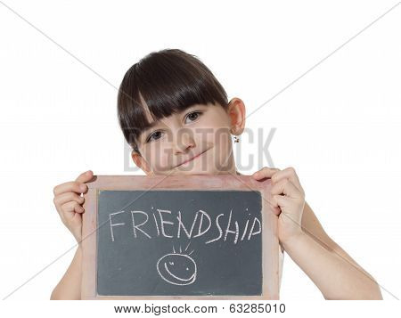 Girl and chalkboard