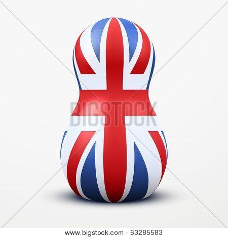 Russian tradition matrioshka dolls in British flag style.