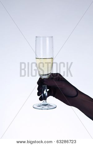 Female hand in black opera glove holding champagne glass, studio shot on gray background