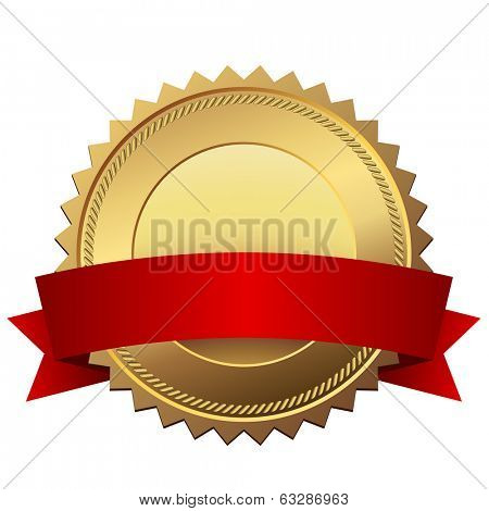 Blank golden quality label with red banner vector template isolated on white background.