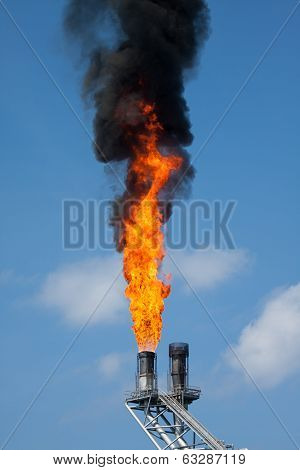 Gas burn or Flare burn in offshore location, Oil and gas process.