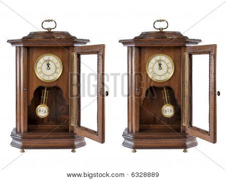 Isolated Old-fashion Wooden Clock