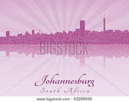 Johannesburg Skyline In Purple Radiant Orchid