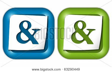 Set Of Two Icons With Paper And Ampersand