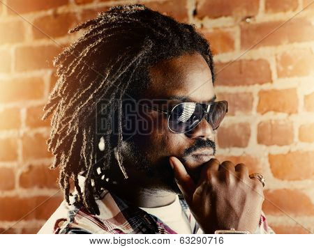 serious black man with dreadlocks