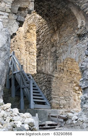 Castle Of Lietava, Interior Walls With Stairs