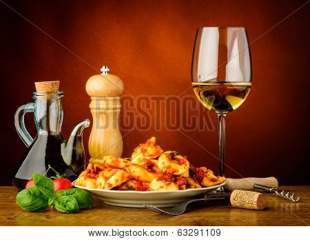 Tortellini Pasta Meal And White Wine